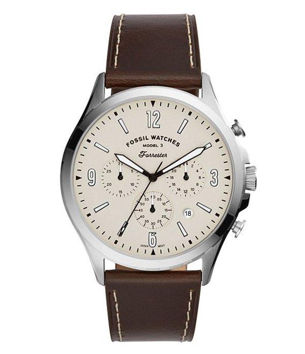 フォッシル メンズ 腕時計 アクセサリー Forrester Chronograph Brown Leather Watch Brown