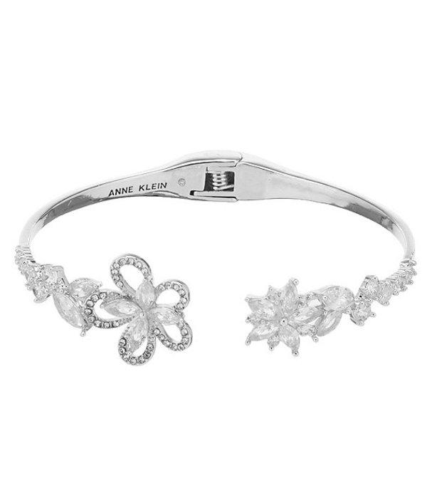 アンクライン レディース ブレスレット・バングル・アンクレット アクセサリー Crystal Flower Hinge Bangle Bracelet Silver