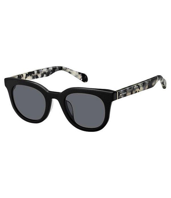 フォッシル レディース サングラス・アイウェア アクセサリー Rounded Gradient Lens Sunglasses Black Marble
