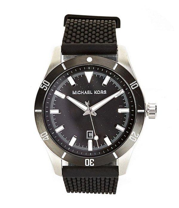 マイケルコース メンズ 腕時計 アクセサリー Layton Three - Hand Black Silicone Mesh Watch Black