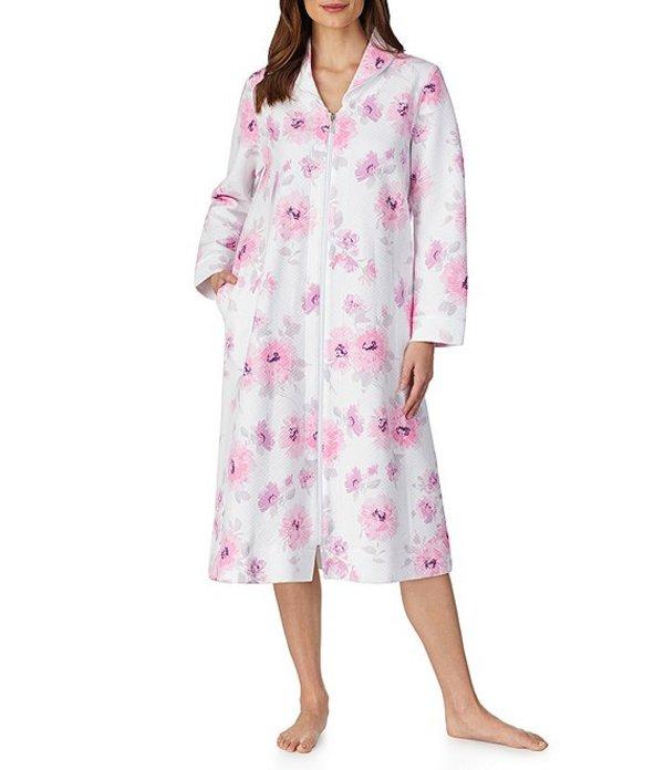 カロールホクマン レディース ナイトウェア アンダーウェア Quilt-In-Knit Watercolor Floral Print Zip Front Long Robe Watercolor