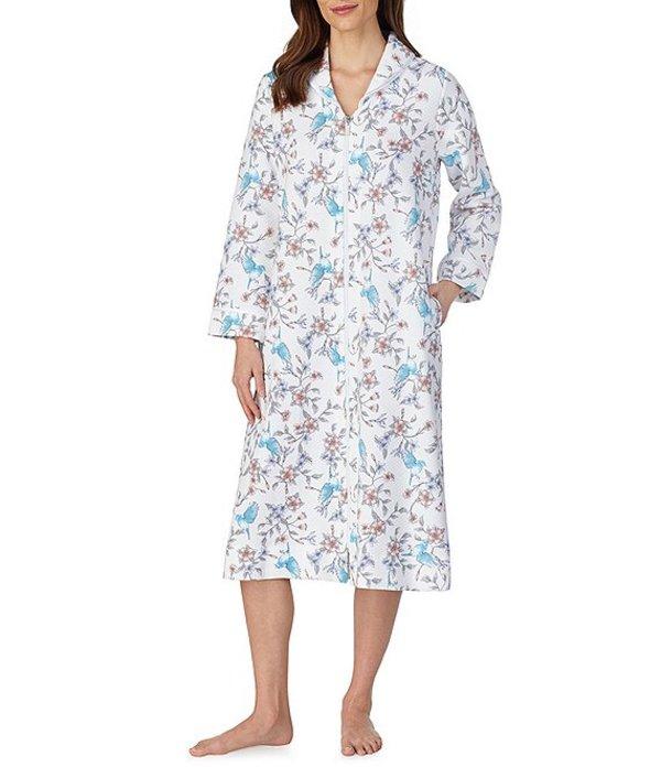 カロールホクマン レディース ナイトウェア アンダーウェア Quilt-In-Knit Floral Print Zip Front Long Robe Large Floral