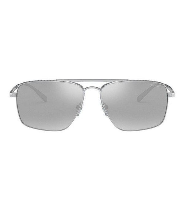ヴェルサーチ メンズ サングラス・アイウェア アクセサリー Navigator Mirrored 61mm Sunglasses Silver