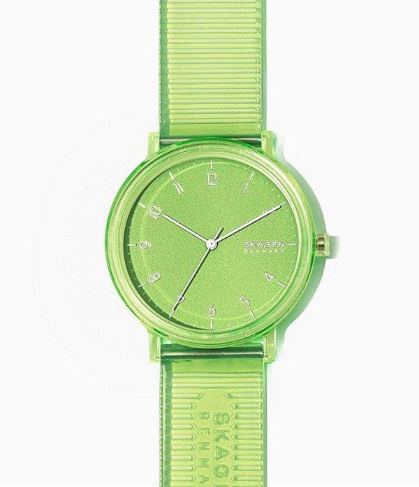 スカーゲン レディース 腕時計 アクセサリー Aaren Transparent Three-Hand Green Jelly Watch Green