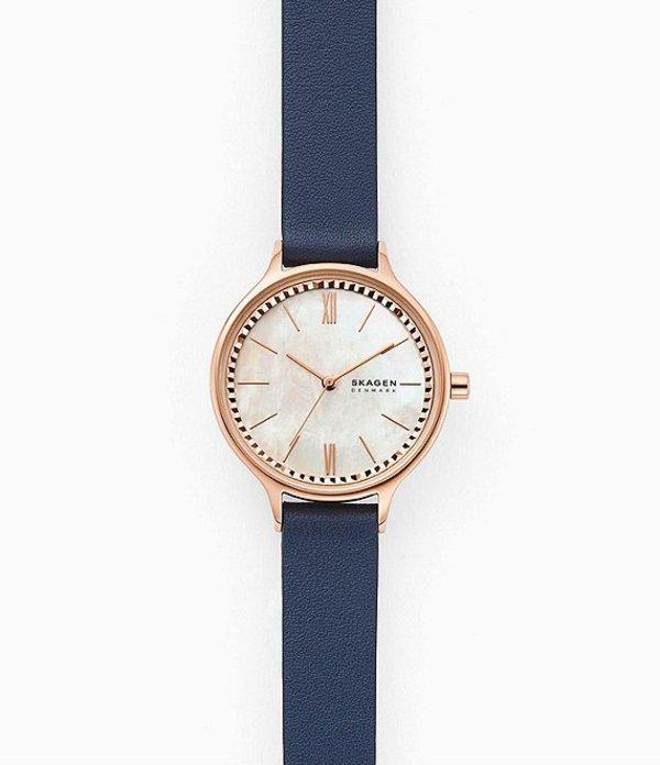 スカーゲン レディース 腕時計 アクセサリー Anita Three-Hand Blue Leather Strap Analog Watch Blue
