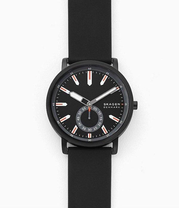 スカーゲン メンズ 腕時計 アクセサリー Colden Three-Hand Black Silicone Watch Black