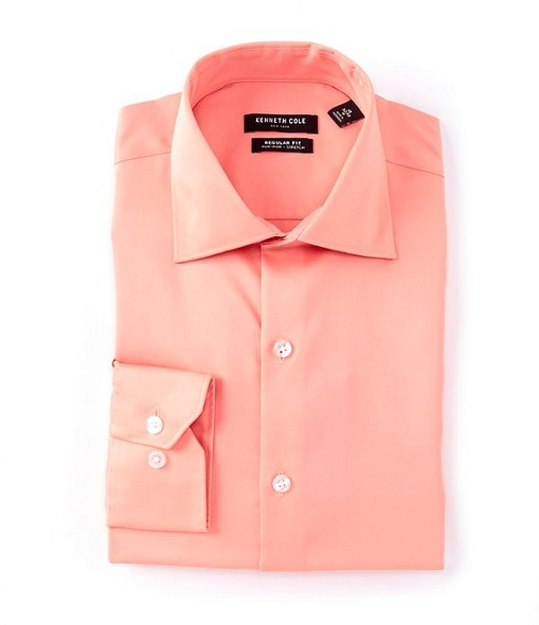 ケネスコール レディース シャツ トップス Non-Iron Regular Fit Spread Collar Solid Dress Shirt Coral