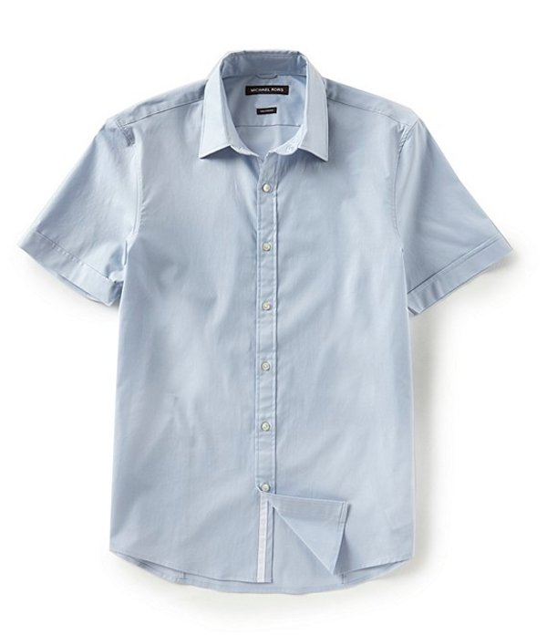 マイケルコース レディース シャツ トップス Slim-Fit Solid Stretch Short-Sleeve Woven Shirt Ice Blue
