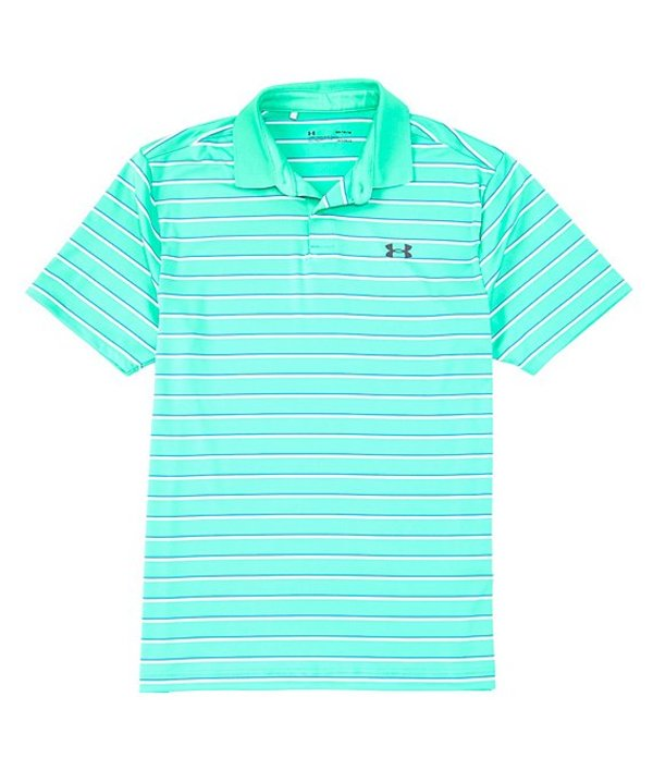 アンダーアーマー レディース シャツ トップス Golf Short-Sleeve Loose Performance Stripe Polo 2.0 Vapor Green