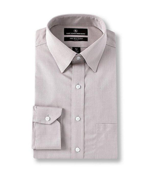 ハート シャフナー マルクス レディース シャツ トップス Non-Iron Classic Fit Hidden-Button Down Collar Herringbone Dress Shirt Grey