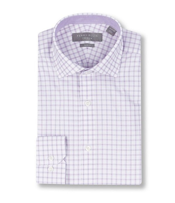 ペリーエリス レディース シャツ トップス Premium Non-Iron Slim Fit Spread Collar Line Checked Dress Shirt Light Purple