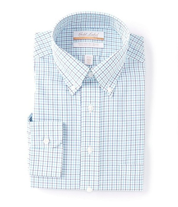 ラウンドトゥリーアンドヨーク レディース シャツ トップス Gold Label Roundtree & Yorke Non-Iron Full Fit Button-Down Collar Multi-Colored Blue Checked Dress Shirt Aqua Multi