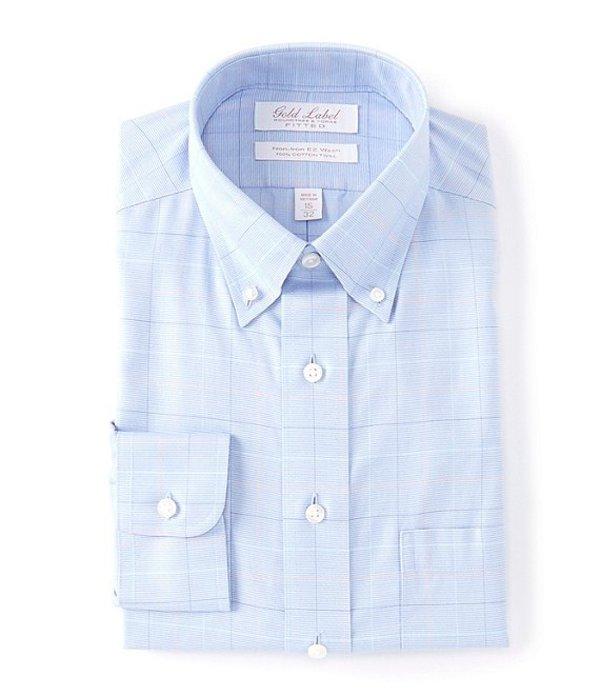 ラウンドトゥリーアンドヨーク レディース シャツ トップス Gold Label Roundtree & Yorke Non-Iron Fitted Button-Down Collar Multi-Colored Checked Dress Shirt Blue Multi