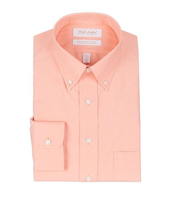 ラウンドトゥリーアンドヨーク レディース シャツ トップス Gold Label Roundtree & Yorke Non-Iron Fitted Button-Down Collar Solid Orange Dress Shirt Orange