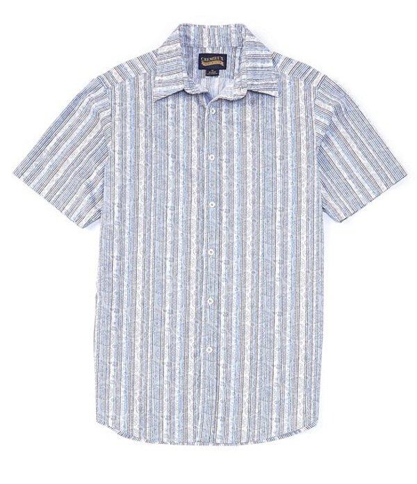 ダニエル クレミュ レディース シャツ トップス Jeans Paisley Stripe Stretch Short-Sleeve Woven Shirt Blue