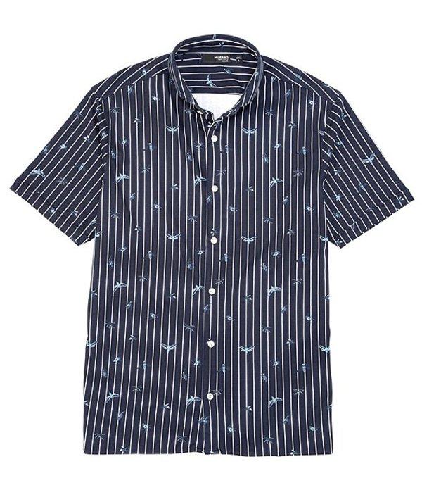 ムラノ レディース シャツ トップス Liquid Luxury Slim-Fit Bugs Print Short-Sleeve Coatfront Shirt Dark Navy