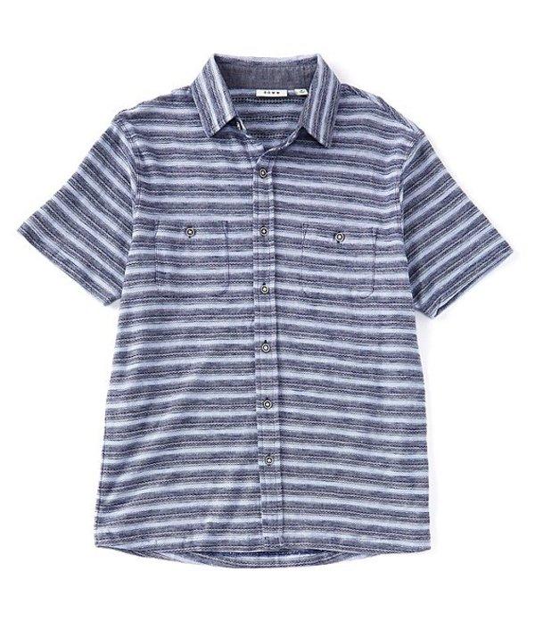 ラウン レディース シャツ トップス Short-Sleeve Coat Front Knit Shirt Navy