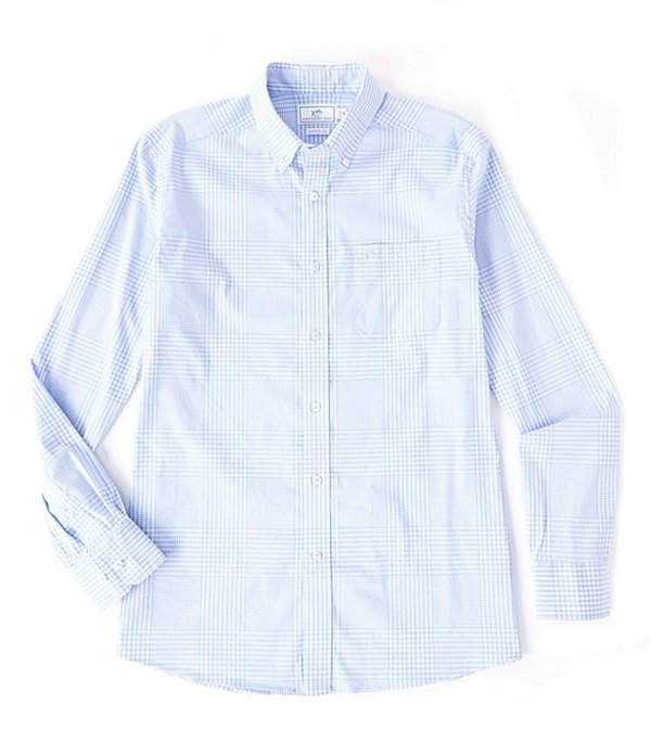 サウザーンタイド レディース シャツ トップス Onshore Variegated Gingham Long-Sleeve Woven Shirt Sky Blue