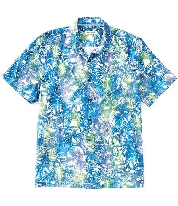 トッミーバハマ レディース シャツ トップス Big & Tall Hazy Hibiscus Short-Sleeve Woven Shirt Ocean Deep