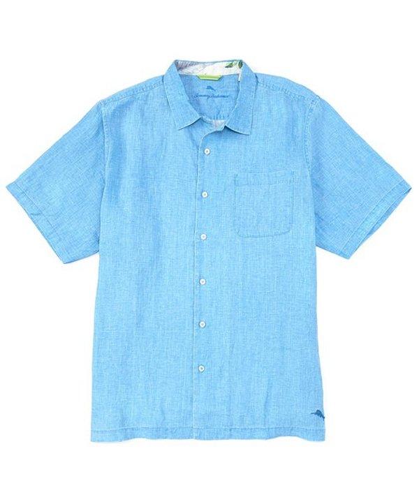 トッミーバハマ レディース シャツ トップス Big & Tall Sea Glass Linen Short-Sleeve Woven Camp Shirt Blue Yonder