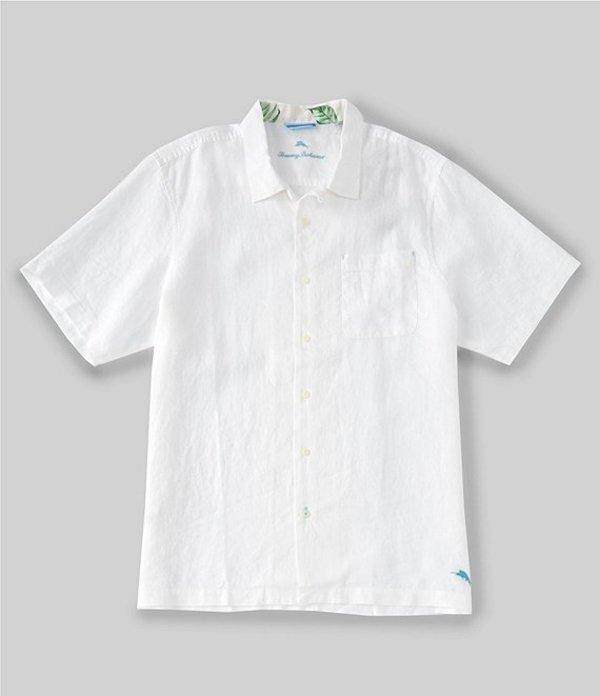 トッミーバハマ レディース シャツ トップス Big & Tall Sea Glass Linen Short-Sleeve Woven Camp Shirt White