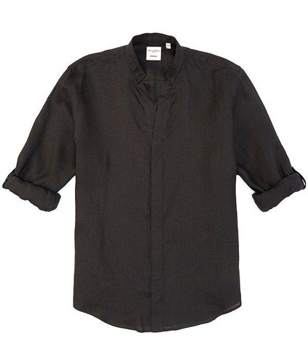 ムラノ レディース シャツ トップス Big & Tall Baird McNutt Linen Solid Mandarin Collar Roll-Sleeve Woven Shirt Black