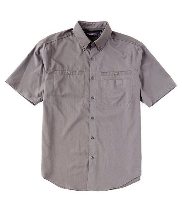 ラウンドトゥリーアンドヨーク レディース シャツ トップス Performance Big & Tall Short-Sleeve Checked Capeback Sportshirt Light Grey