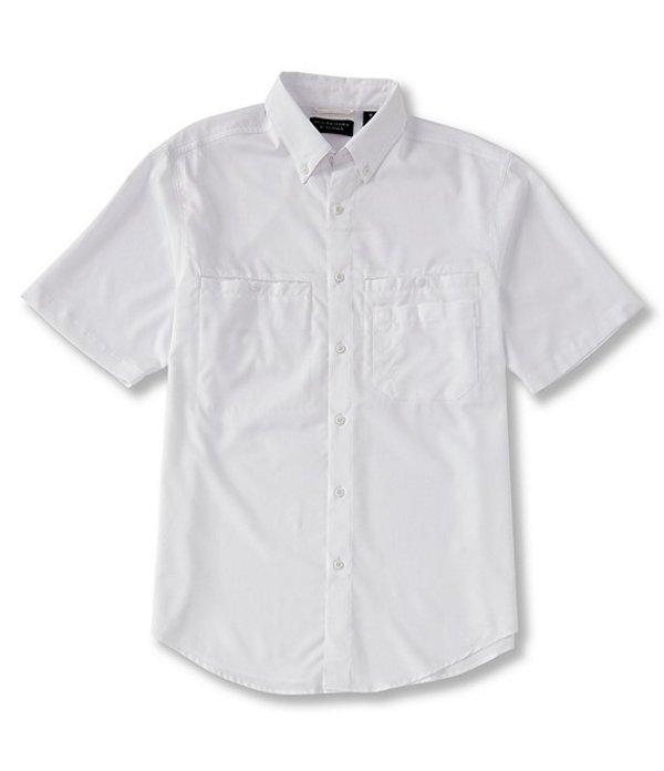ラウンドトゥリーアンドヨーク レディース シャツ トップス Performance Big & Tall Short-Sleeve Checked Capeback Sportshirt White
