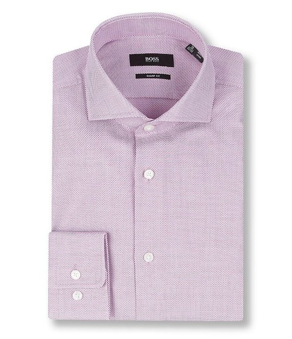ヒューゴボス レディース シャツ トップス Sharp Fit Spread Collar Pindot Dress Shirt Berry