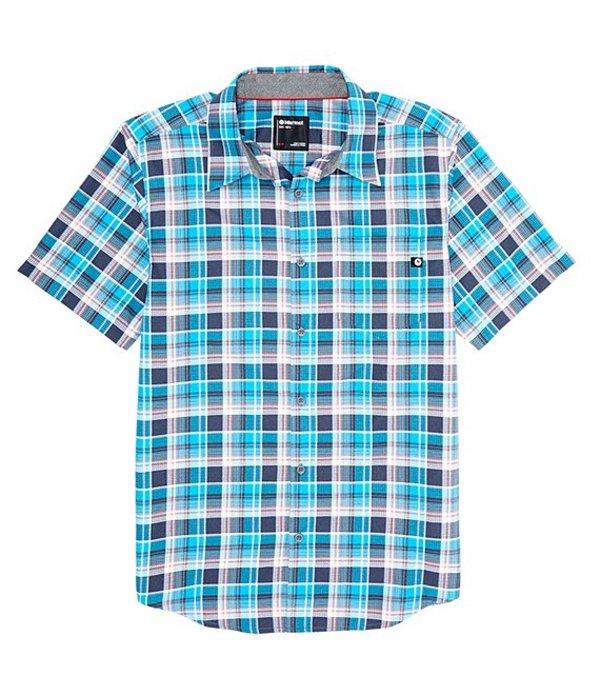 マーモット レディース シャツ トップス Syrocoo Plaid Short-Sleeve Woven Shirt Enamel Blue