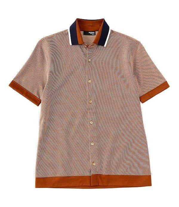 ムラノ レディース シャツ トップス Liquid Luxury Slim-Fit Short-Sleeve Coatfront Shirt Brown