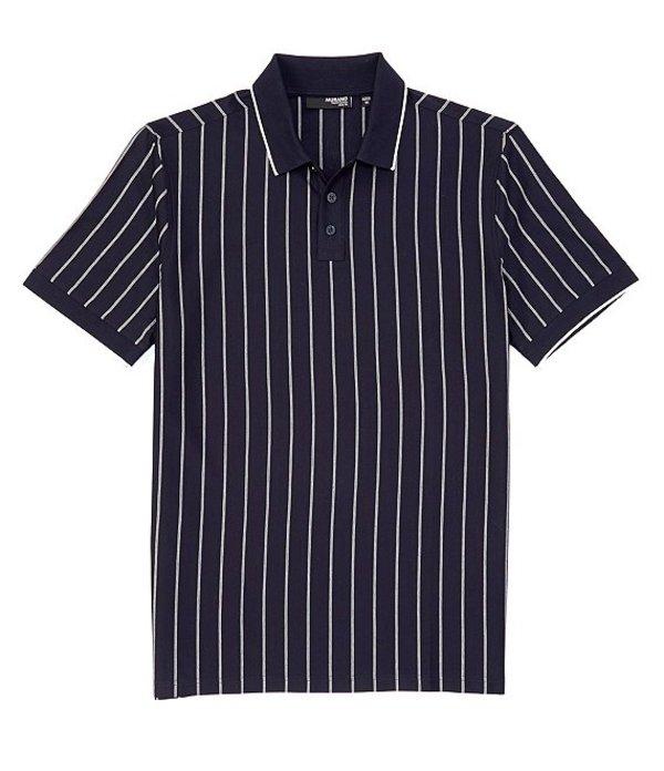 ムラノ レディース シャツ トップス Liquid Luxury Slim-Fit Stripe Short-Sleeve Polo Shirt Navy
