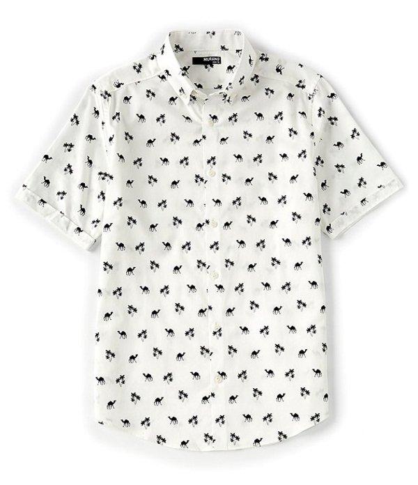 ムラノ レディース シャツ トップス Slim-Fit Camel Short-Sleeve Woven Shirt White