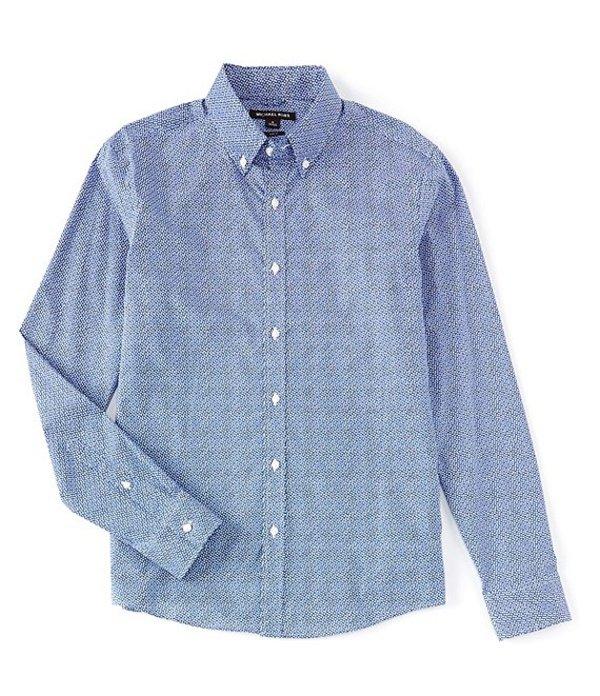 マイケルコース レディース シャツ トップス Slim-Fit Mini Dot Print Stretch Long-Sleeve Woven Shirt Pop Blue