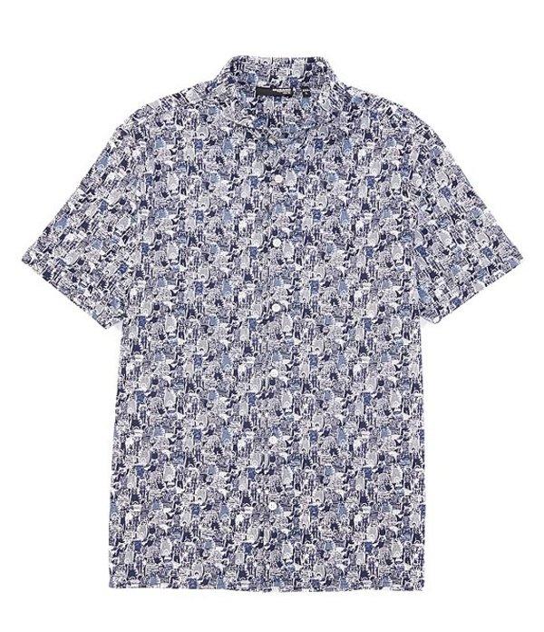ムラノ レディース シャツ トップス Liquid Luxury Slim-Fit Printed Short-Sleeve Woven Coatfront Shirt Navy