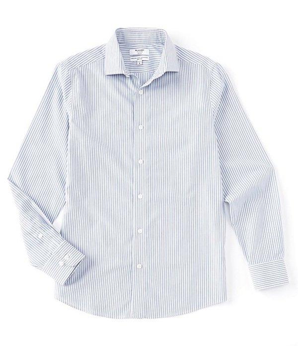 ムラノ レディース シャツ トップス Slim-Fit Non-Iron Italian Stripe Long-Sleeve Woven Shirt Blue