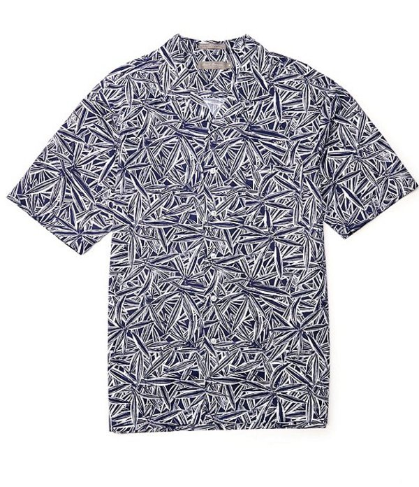 ダニエル クレミュ レディース シャツ トップス Daniel Cremieux Signature Printed Short-Sleeve Woven Camp Shirt Ink Blue