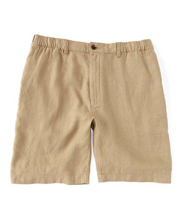 カリビアン レディース ハーフパンツ・ショーツ ボトムス Big & Tall Flat-Front Linen 10#double; and 12#double; Inseam Shorts Dark Stone