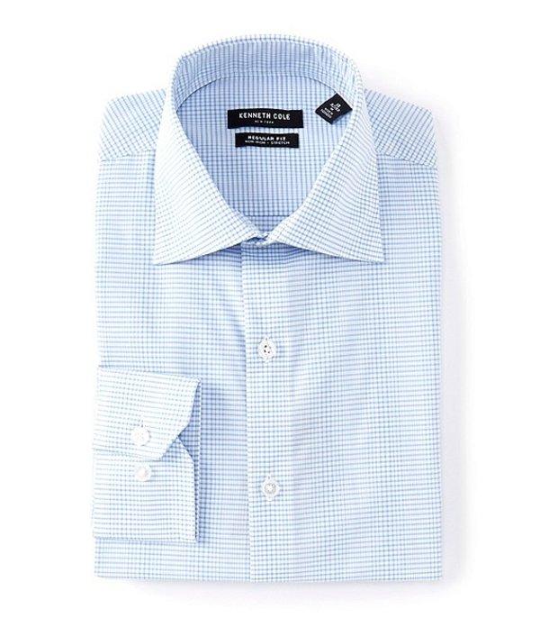 ケネスコール レディース シャツ トップス Non-Iron Regular Fit Spread Collar Irregular Check Dress Shirt Light Blue