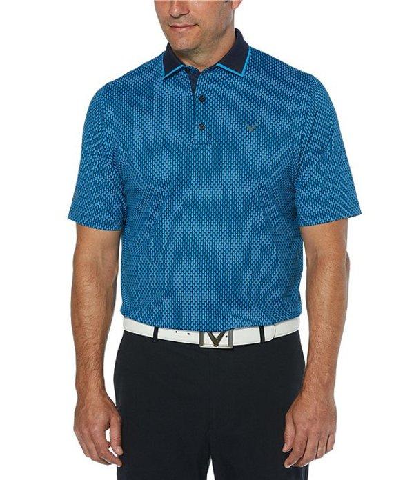 キャラウェイ レディース シャツ トップス Golf Short-Sleeve All-Over Novelty Print SwingTech Polo Shirt Peacoat