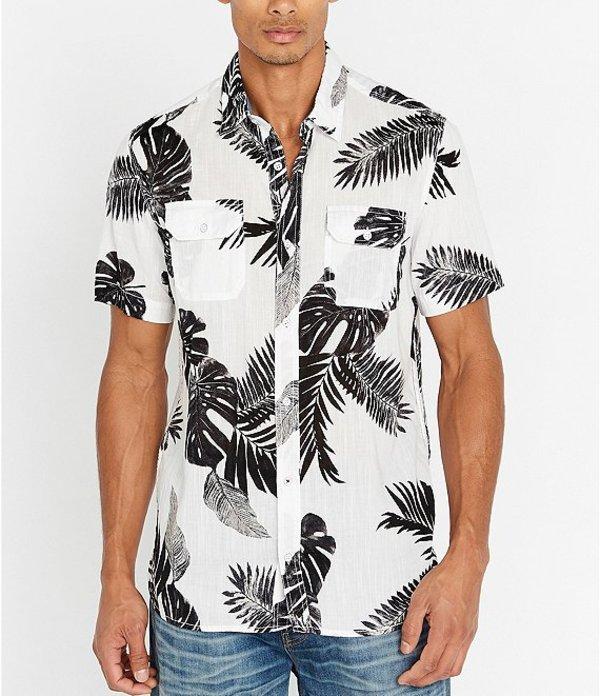 バッファロー・デイビッド・ビトン レディース シャツ トップス Sikull Tropical Print Short-Sleeve Shirt Milk