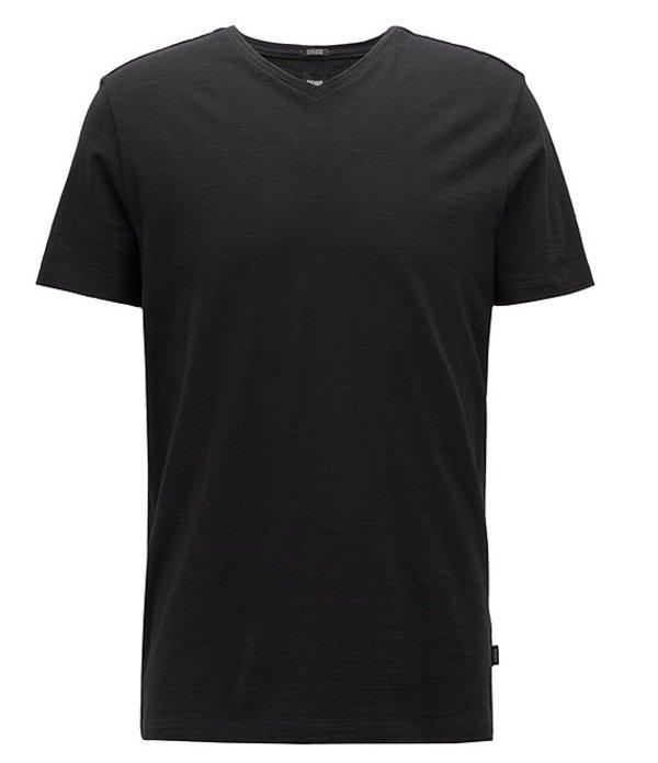 ヒューゴボス レディース シャツ トップス BOSS Big & Tall Tilson Short-Sleeve V-Neck Tee Black
