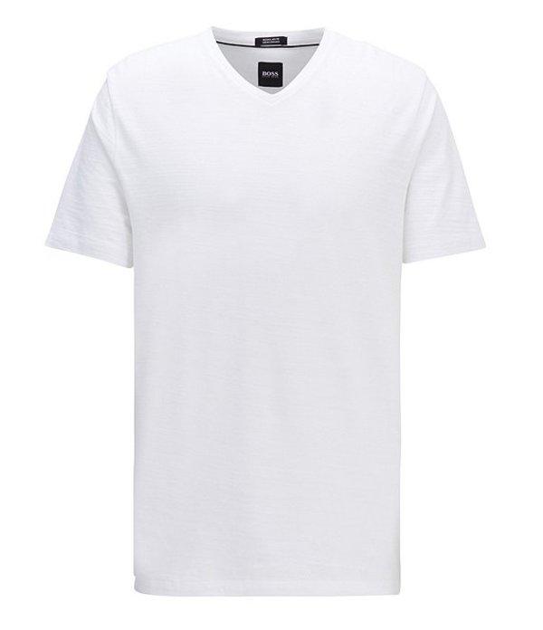 ヒューゴボス レディース シャツ トップス BOSS Big & Tall Tilson Short-Sleeve V-Neck Tee White
