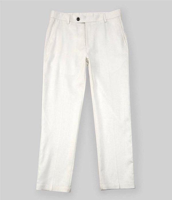カリビアン レディース カジュアルパンツ ボトムス Flat-Front Linen Cotton Blend Pants Off White