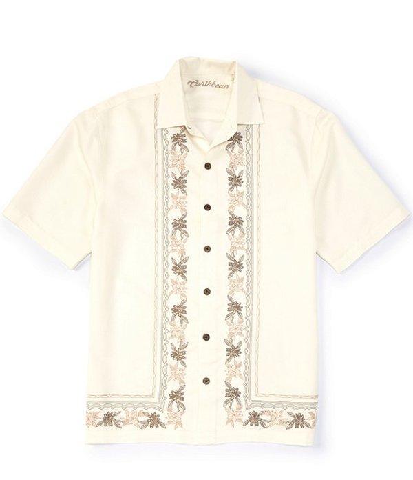 カリビアン レディース シャツ トップス Panel Embroidery Short-Sleeve Woven Shirt Off White