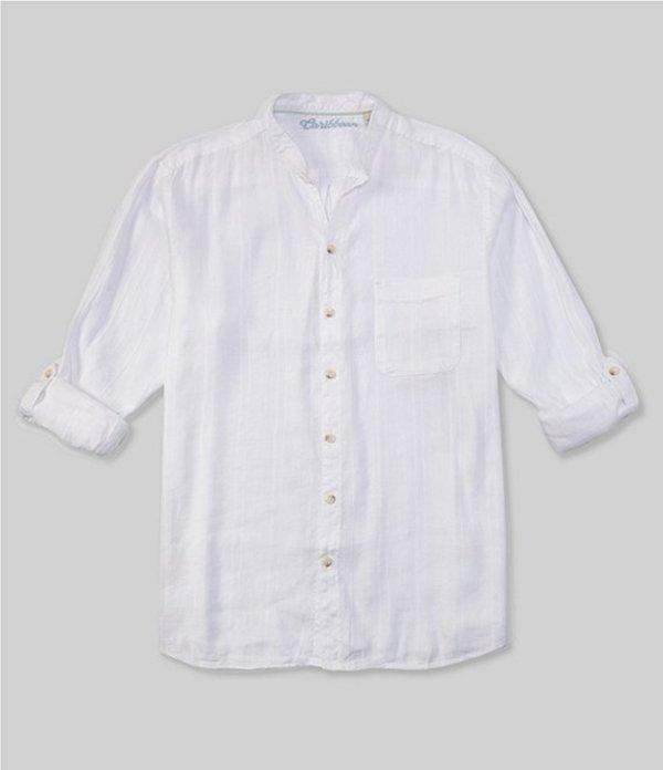 カリビアン レディース シャツ トップス Big & Tall Mandarin Collar Roll-Sleeve Woven Shirt White