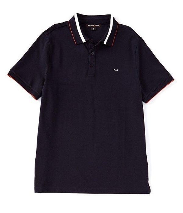 マイケルコース レディース シャツ トップス Plaited Rib Short-Sleeve Polo Shirt Dark Midnight