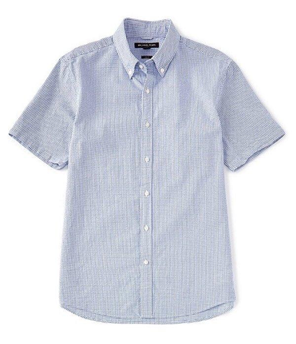 マイケルコース レディース シャツ トップス Slim-Fit Check Seersucker Short-Sleeve Woven Shirt Pop Blue
