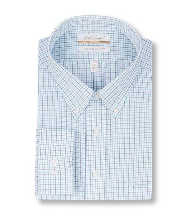 ラウンドトゥリーアンドヨーク レディース シャツ トップス Gold Label Roundtree & Yorke Big & Tall Non-Iron Button-Down Collar Checked Dress Shirt Aqua