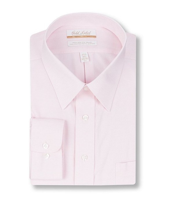 ラウンドトゥリーアンドヨーク レディース シャツ トップス Gold Label Roundtree & Yorke Big & Tall Non-Iron Point Collar Textured Solid Dress Shirt Pink
